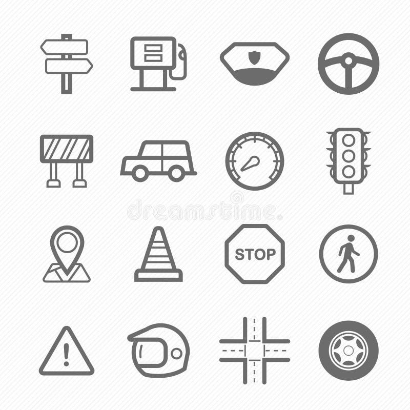 Trafiksymbollinje symbolsuppsättning vektor illustrationer