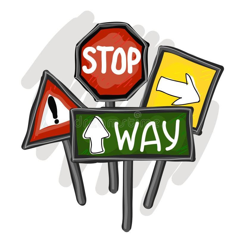 Trafiktecken vektor illustrationer