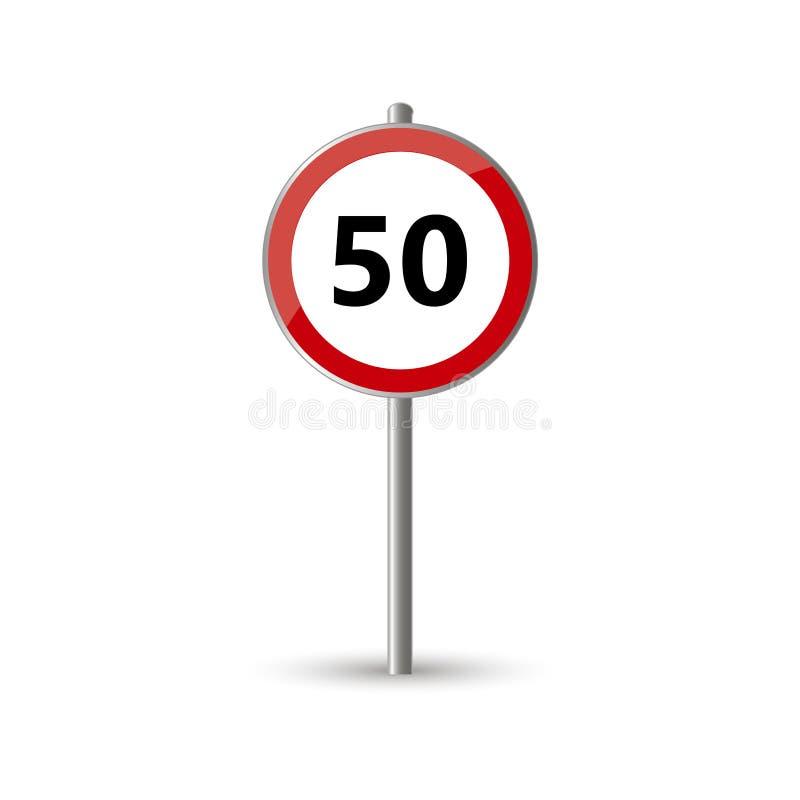 Trafiktecken för hastighetsbegränsning femtio stock illustrationer