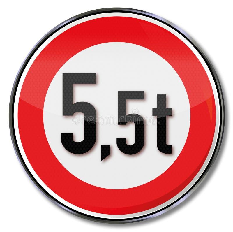 Trafiktecken 5 maximal vikt för 5 metriskt ton stock illustrationer