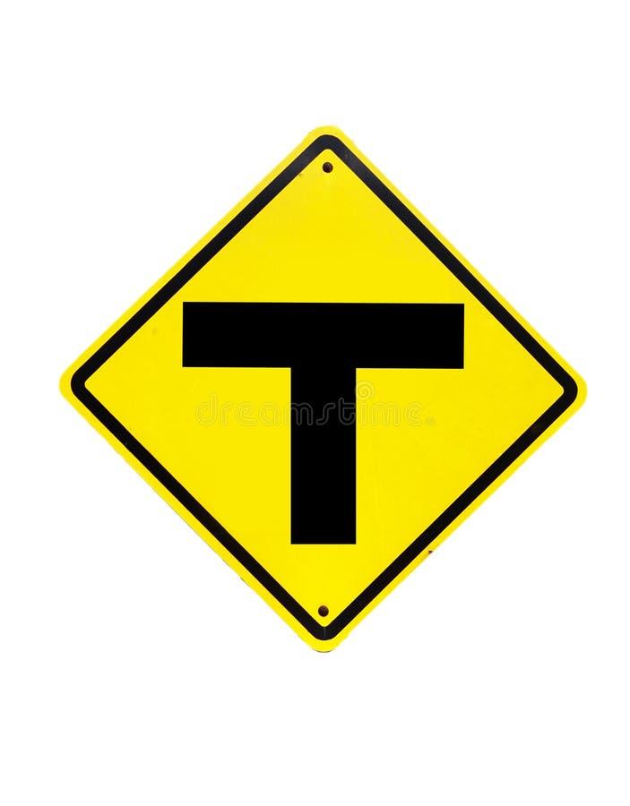 Trafiktecknet för tre genomskärning royaltyfri fotografi