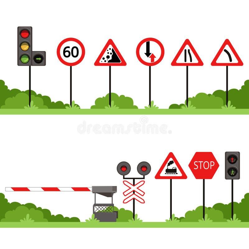 Trafiktecknet ställde in, olika vägmärkevektorillustrationer stock illustrationer