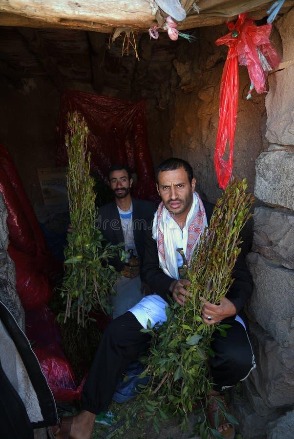 Trafiquants de drogue de Khat à Sanaa, Yémen photographie stock