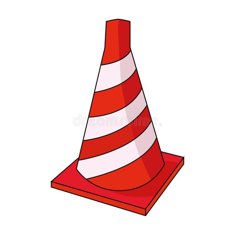 Trafique o ícone do cone no estilo dos desenhos animados isolado no fundo branco Ilustração do vetor do estoque do símbolo do arq ilustração royalty free