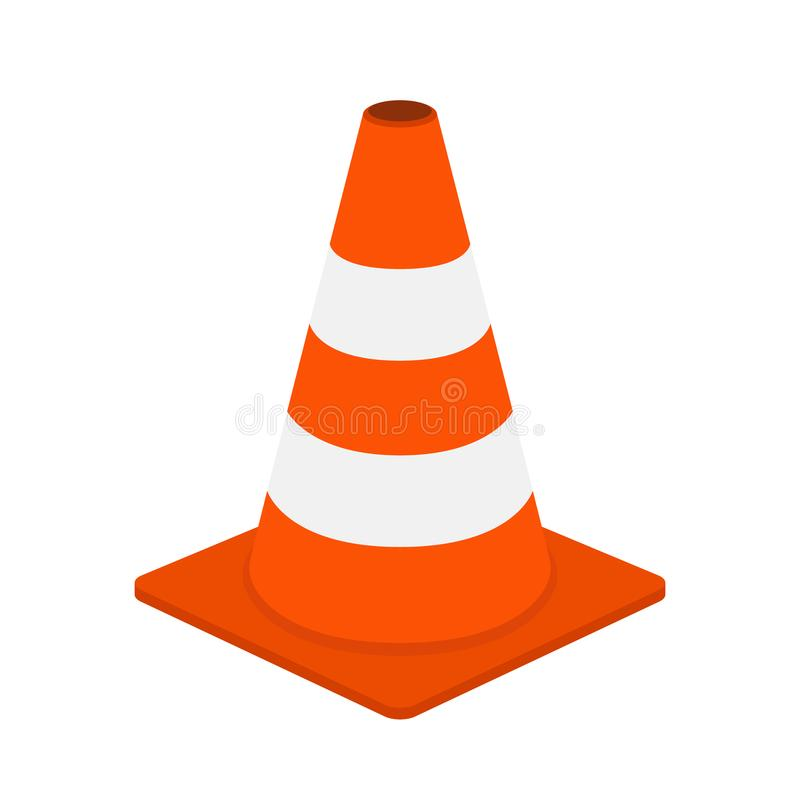 Trafique o cone, equipamento para a segurança, estrada Estilo liso dos desenhos animados Vetor ilustração royalty free
