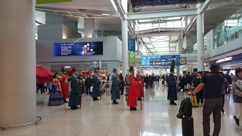 Trafitionceremony coréen d'aéroport d'Incheon photos libres de droits