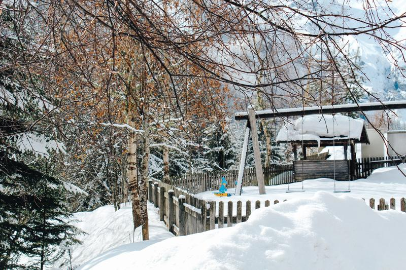 Trafoi, Italy - 03 24 2013: views of the beautiful Alpen village Trafoi in winter landscape royalty free stock photos