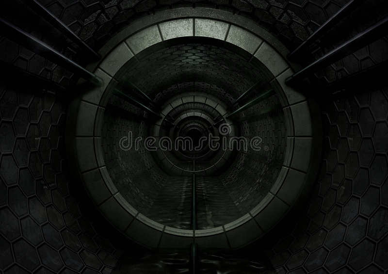 Traforo futuristico scuro illustrazione di stock