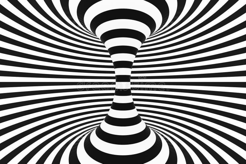 Traforo a spirale in bianco e nero Illusione ottica ipnotica torta a strisce sottragga la priorità bassa 3d rendono illustrazione vettoriale