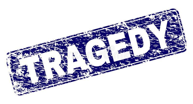 A TRAGÉDIA do Grunge moldou o selo arredondado do retângulo ilustração royalty free