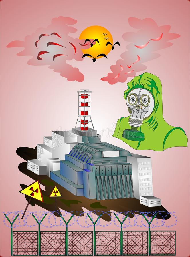 """Tragödie des Atomkraftwerks Tschornobyls des ganzen Welt-â """"– 3 stock abbildung"""