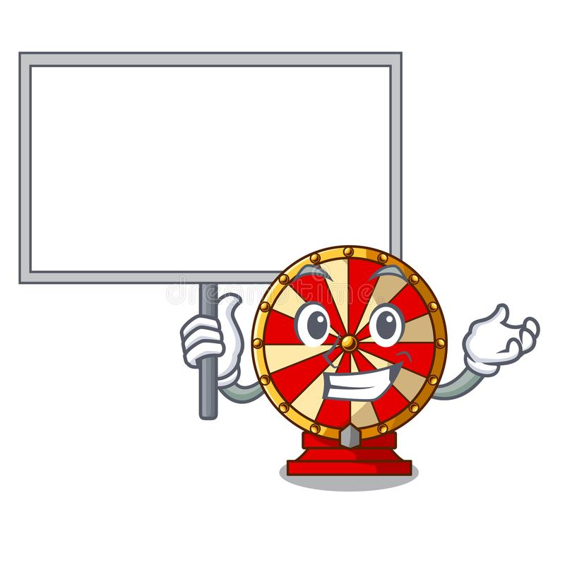 Traga a jogo da roda de gerencio da placa a forma da mascote ilustração stock
