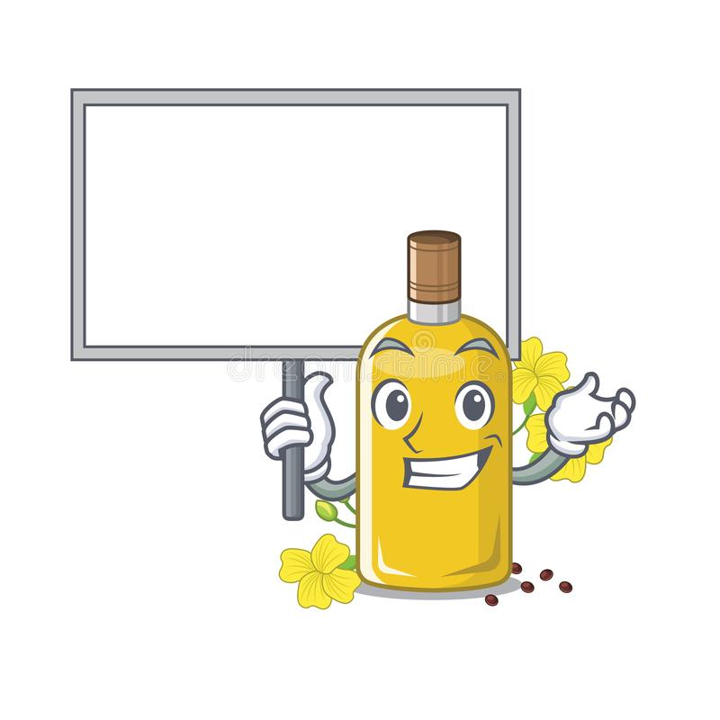 Traga o óleo do canola da placa isolado com os desenhos animados ilustração stock