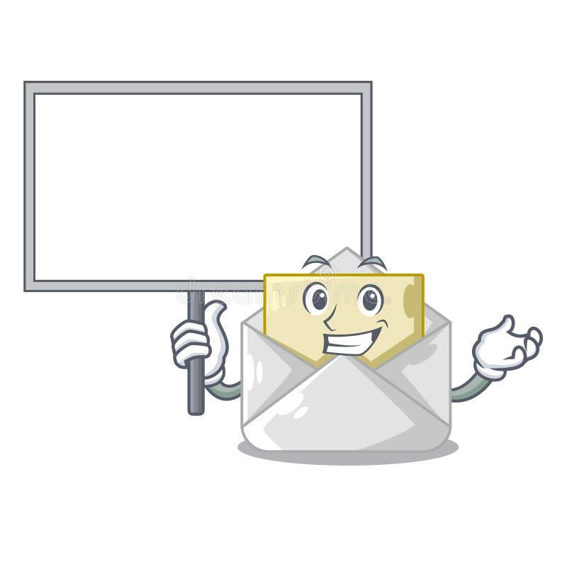 Traga a placa aberta e os envelopes fechados deram forma a desenhos animados ilustração do vetor