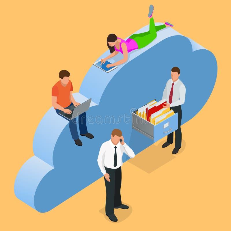 Tragbare Geräte angeschlossen auf einer Wolkendatenspeicherung Flaches Design Geschützter Wolkenspeicher über Smartphone, Tablett lizenzfreie abbildung