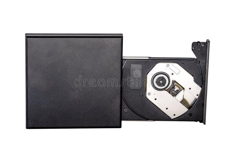 Tragbarer dünner externer Brennerverfasser der CD DVD lokalisiert auf Weiß stockfoto