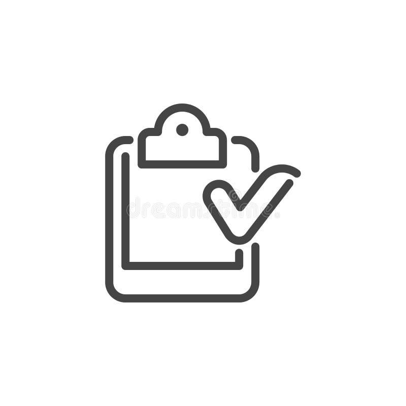 Tragbarer Kalender mit Häkchen Abgeschlossene Aufgabe, Ereignis-Zustimmung, Checkliste erfolgtes Logo Zeit-Management-Linie Zeich stock abbildung