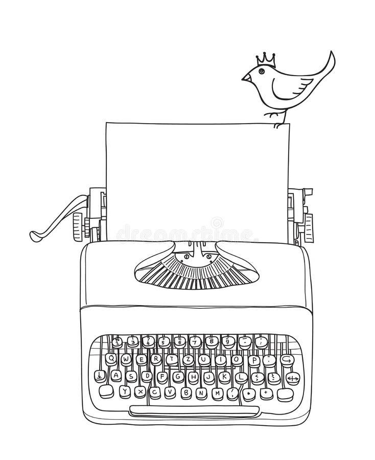 Tragbares Retro- der Schreibmaschine mit gezogener Vektorlinie Kunstillustration des Papiers und der gelber Vogelhand lizenzfreie abbildung