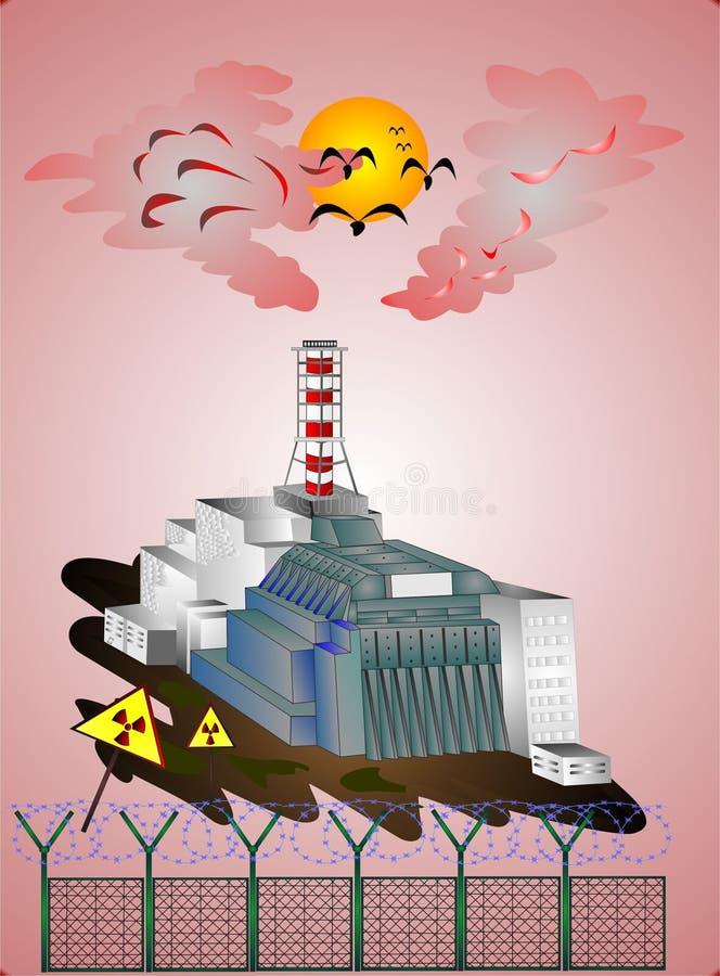 Tragedia della centrale atomica di Cernobyl di intero mondo illustrazione vettoriale