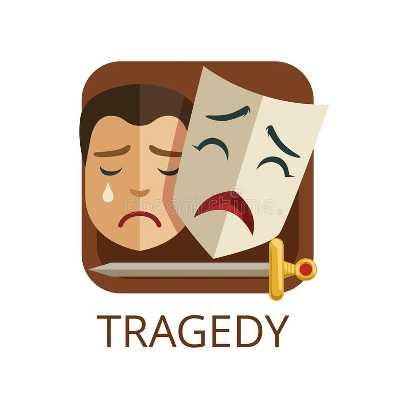 Tragedy cinema or theatre genre, cinematography, movie production vector Illustration. On a white background vector illustration