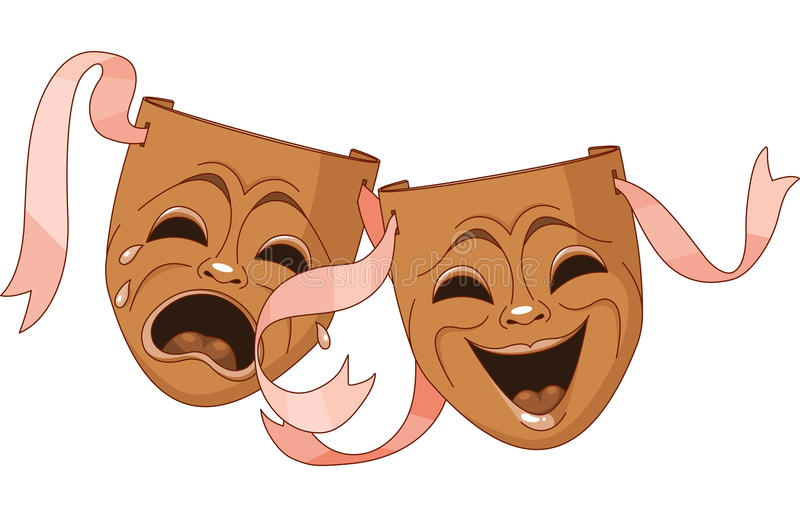 Download Tragedy and Comedy masks stock vector. Illustration of performance - 25971584