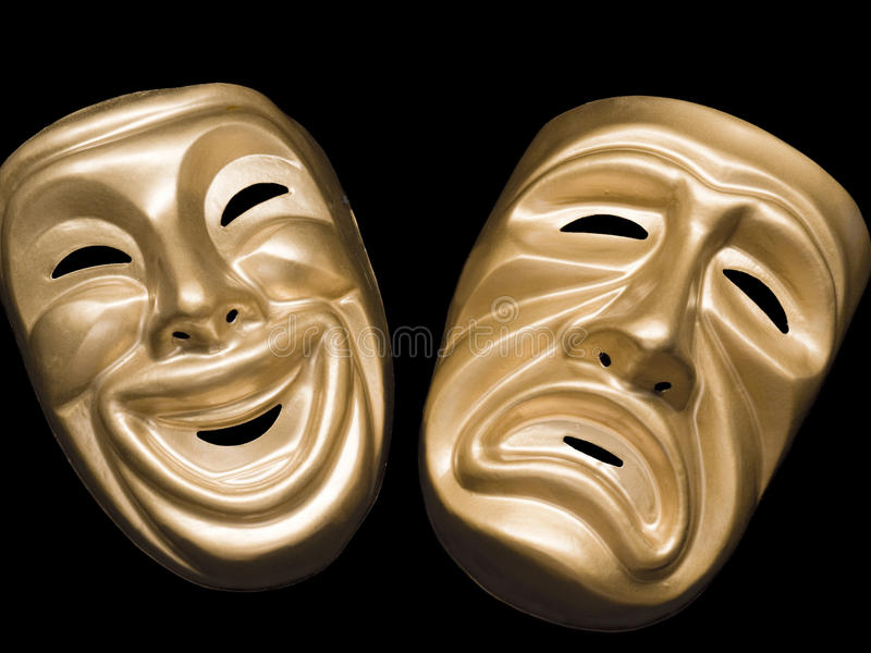 Download Tragedy And Comedy Masks On Black Stock Image - Image: 14285255