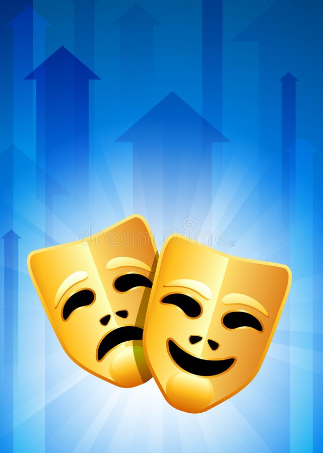 Download Tragedy And Comedy Masks On Blue Arrow Background Stock Illustration - Illustration of glowing, concept: 14271929