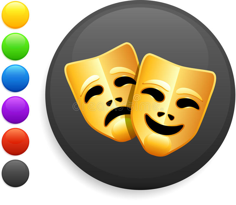 Tragedy and comedy masks icon on internet button vector illustration