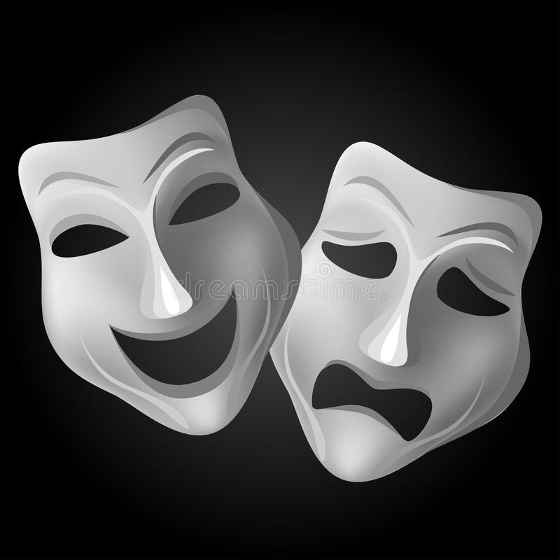 Tragedy Comedy Theater Mask Set Black Background Theatermasken Happy Sad Stock Photo