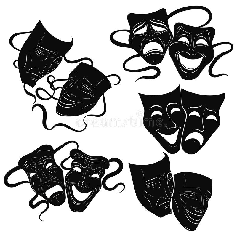 Ornate Tragedy /& Comedy Theatre Masks Set of 4 Coasters