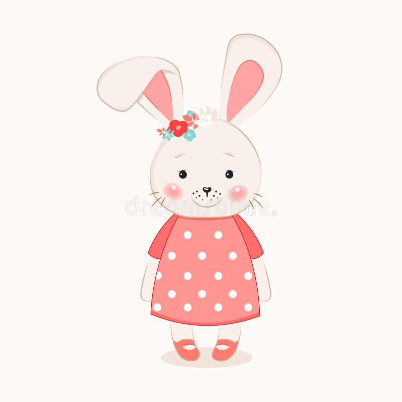 Tragen nette gezeichnete Vektorillustration der Häschenmädchen-Karikatur Hand für Babyt-shirt Druck, Modedruckdesign, Kinder, Kle stock abbildung