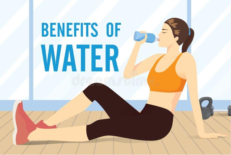 Tragen Sie die Frau zur Schau, die auf dem Boden für Trinkwasser von der Flasche sitzt lizenzfreie abbildung