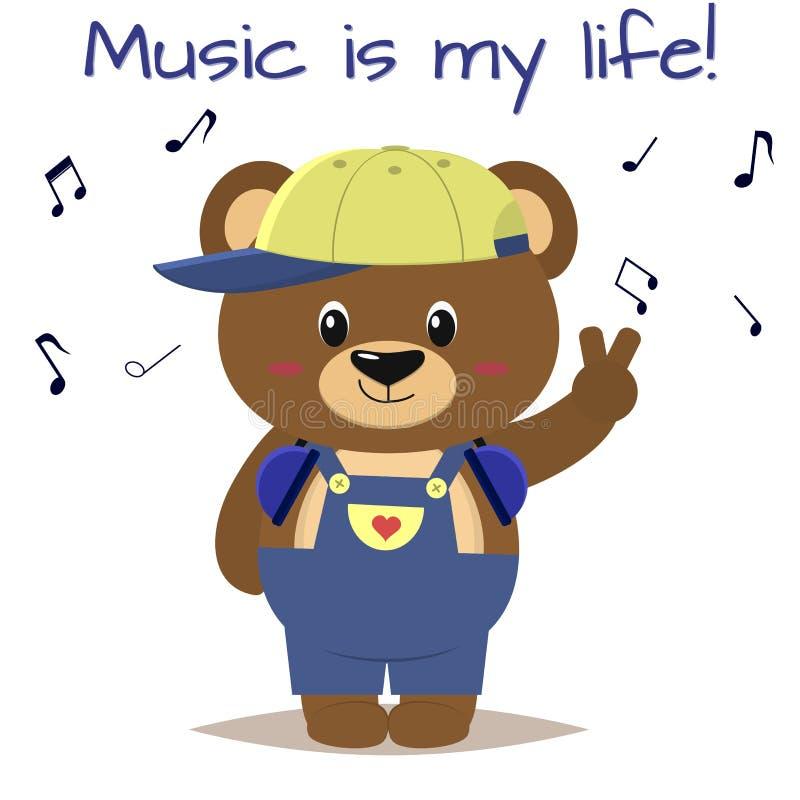 Tragen Sie einen braunen Musiker in einer Baseballmütze, in Kopfhörern und blauen in Overallständen mit einer angehobenen Hand im lizenzfreie abbildung