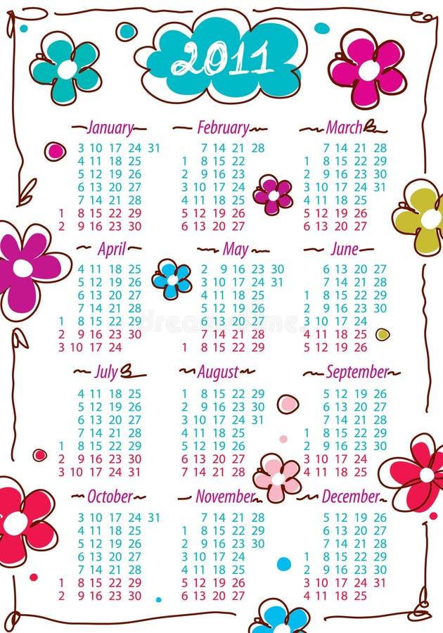 Tragen Sie für Jahr 2011 mit Blumen ein lizenzfreie abbildung