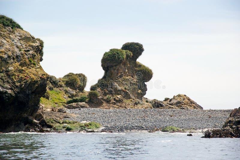 Tragen Sie Felsen an der Punihuil-Bucht, Chiloe-Insel, Chile stockbild