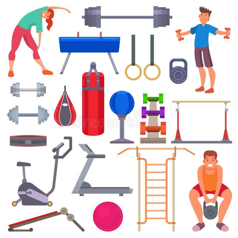 Tragen Sie flache Artikonen der Turnhallenausrüstung und Leuteschulungsübungsvektorillustration der Charaktere gesunde zur Schau stock abbildung