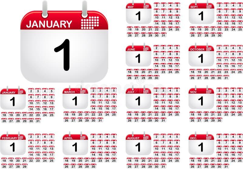 Tragen Sie Ikonen für alle monthes des Jahres ein vektor abbildung
