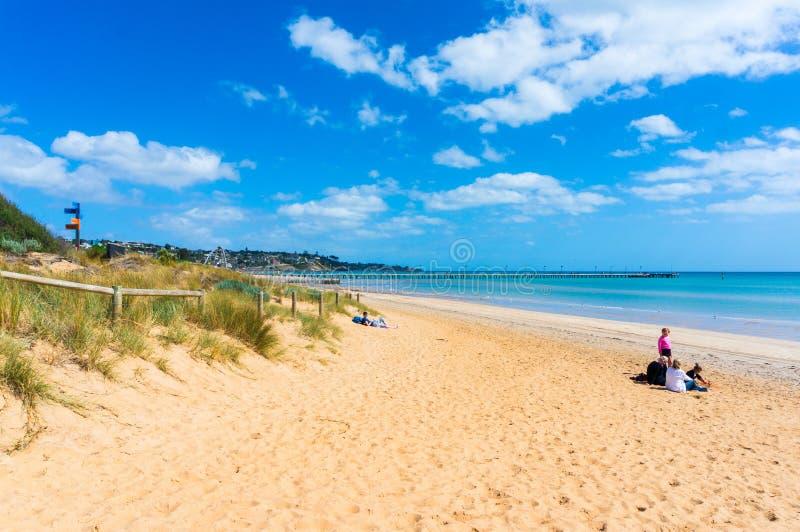Tragen Sie Phillip Bay und Küstenvorland in Frankston, Melbourne lizenzfreie stockbilder