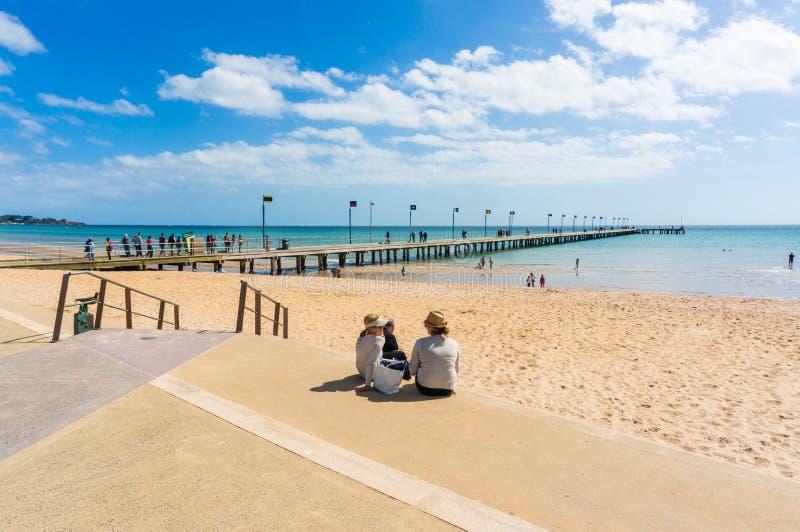 Tragen Sie Phillip Bay und Küstenvorland in Frankston, Melbourne stockfoto