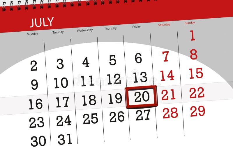 Tragen Sie Planer für den Monat, Schlusstag der Woche, Freitag, 2018 am 20. Juli ein stockbilder