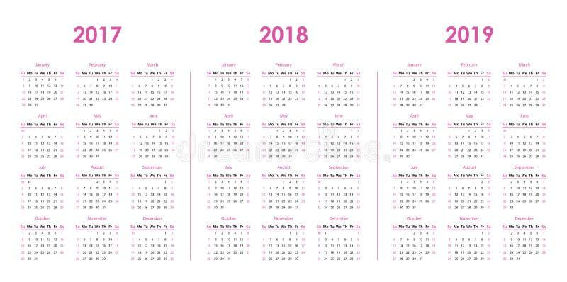 Tragen Sie Schablone für 2017, 2018, 2019 ein lizenzfreie abbildung