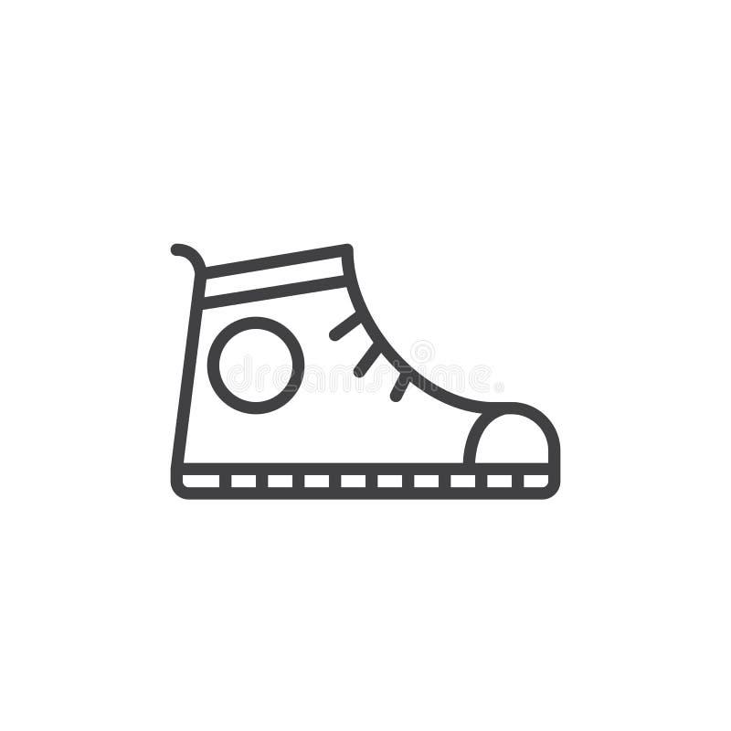 Tragen Sie Schuh, Turnschuhlinie Ikone, Entwurfsvektorzeichen, das lineare Artpiktogramm zur schau, das auf Weiß lokalisiert wird vektor abbildung