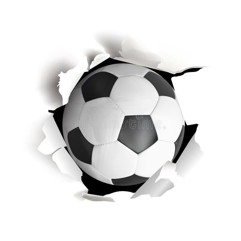 Tragen Sie Vektor illustartion mit dem Fußball zur Schau, der vom Papier herauskommt lizenzfreie abbildung