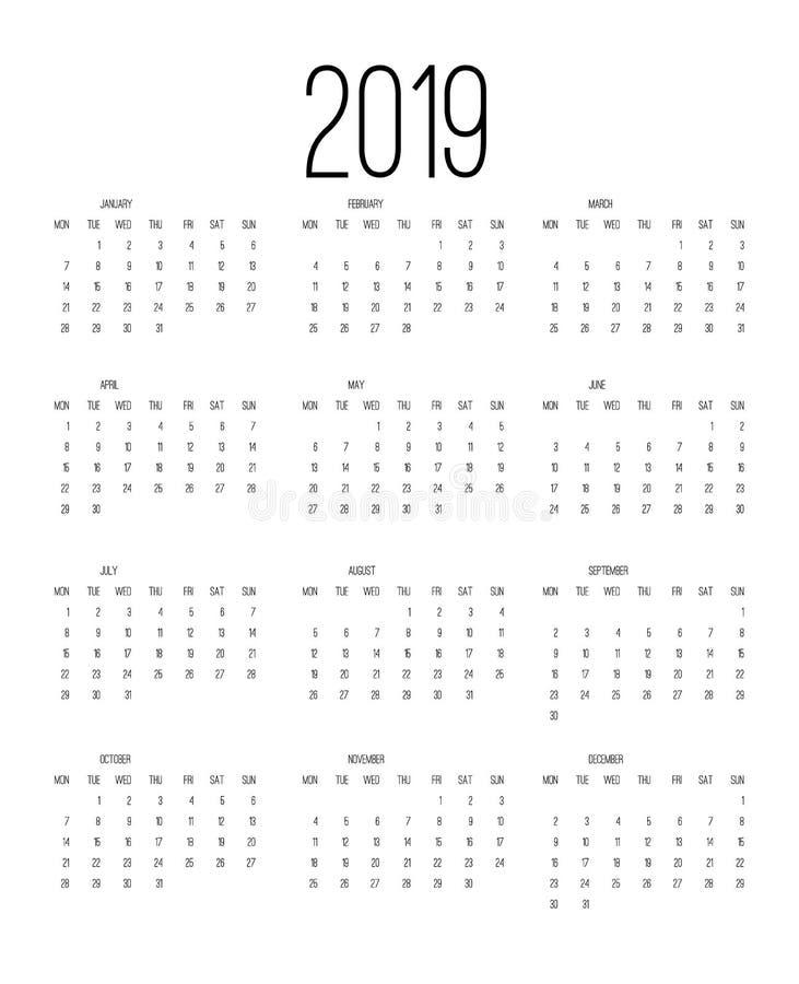 Tragen Sie 2019, Woche abfährt von Sonntag, Geschäftsschablonen-Vektorillustration ein vektor abbildung