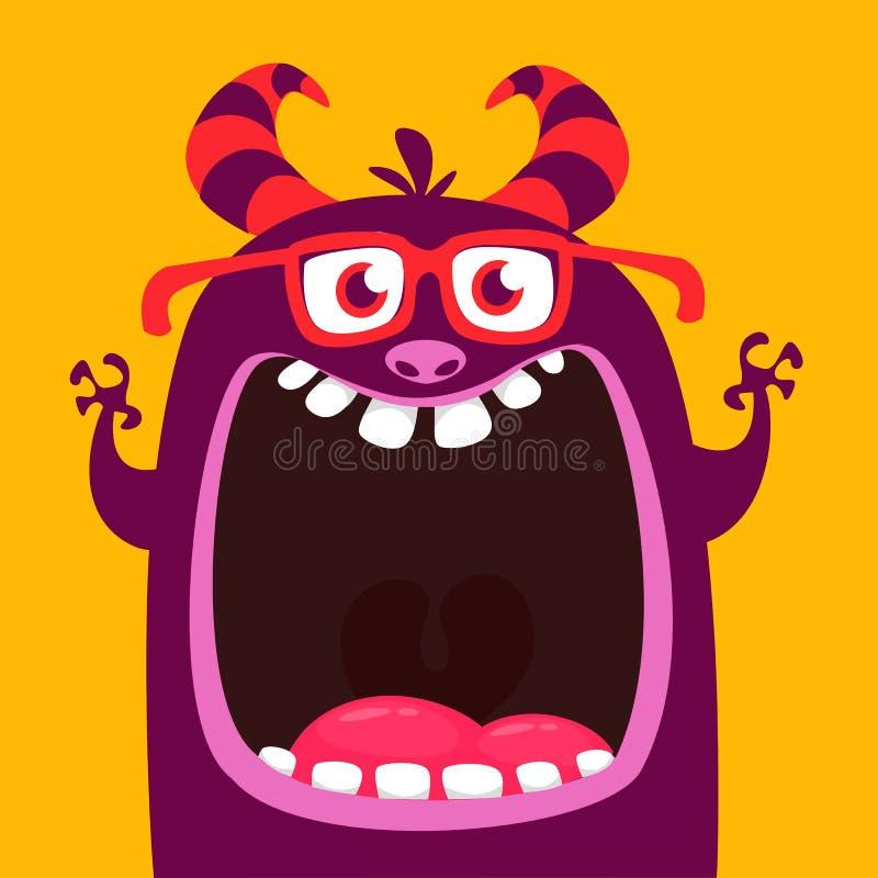 Tragende Brillen des lustigen purpurroten gehörnten Karikaturmonsters Lustiges Monster mit dem Mund weit geöffnet Glückliches Hal lizenzfreie abbildung