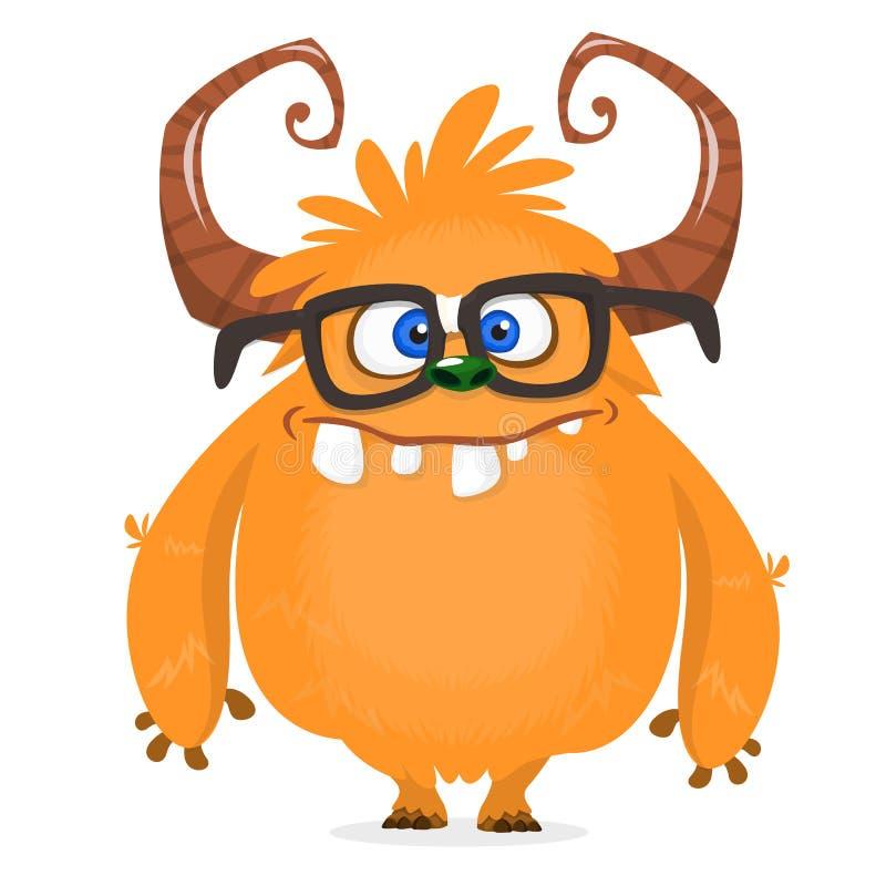 Tragende Brillen des Nerdy glücklichen Karikaturmonster-Charakters Orange und gehörntes Monster Halloween-Vektors Design für Embl vektor abbildung