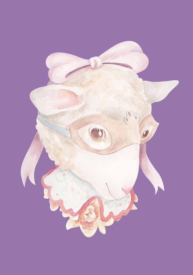 Tragende fantastische Maske der Schafe Nacht stockfotografie