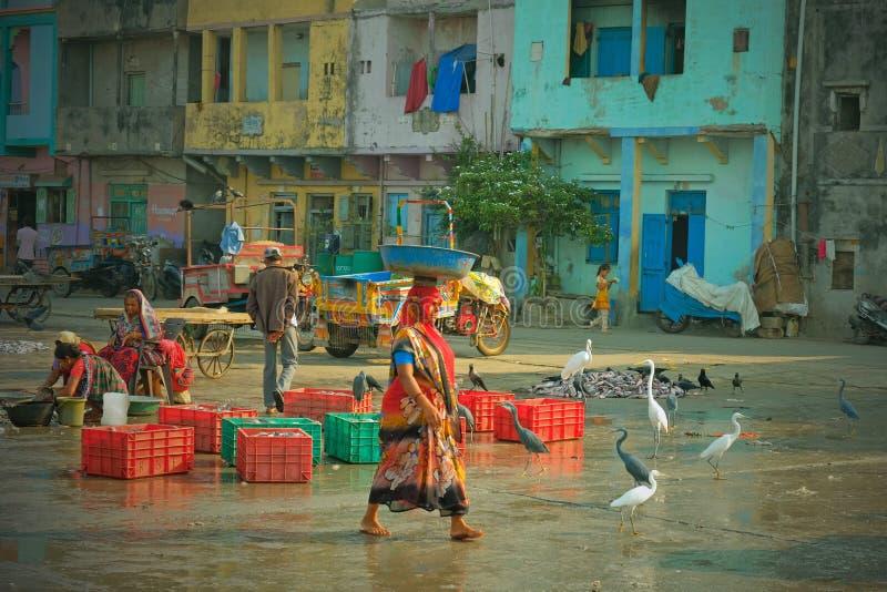 Tragende Fische der Frau auf dem Kai in Diu-Insel, Gujarat lizenzfreie stockbilder