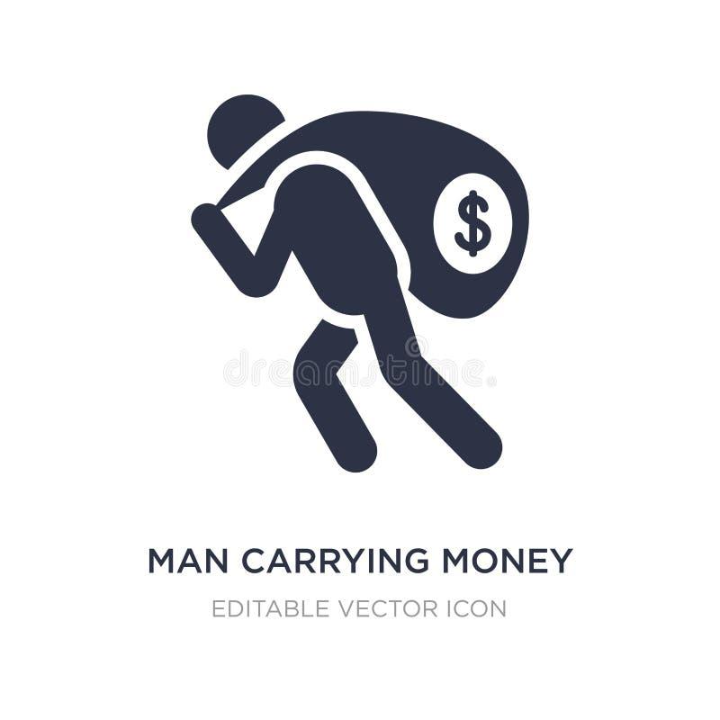 tragende Geldikone des Mannes auf weißem Hintergrund Einfache Elementillustration vom Geschäftskonzept lizenzfreie abbildung