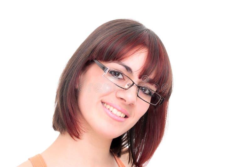 Tragende Gläser der jungen Geschäftsfrau stockbild